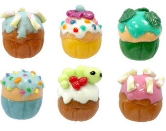 Miniature Foods Polymer Clay Beads Jewelry 6 pcs