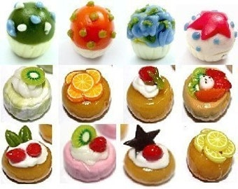 Miniature Foods Polymer Clay Beads for Beaded Jewelry 12 pcs