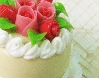 Miniature Roses & Foods Polymer Clay Beads for Jewelry Supplies