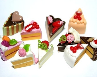 Miniature Foods Polymer Clay Beads Jeweley Supplies 10 pcs