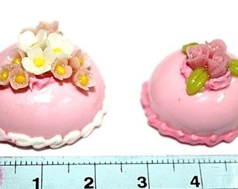 Miniature Bakery Polymer Clay Beads and Foods Jewelry 2 pcs