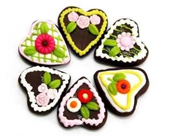 Miniature Foods Polymer Clay Supplies Bavarian Gingerbread for Beaded jewelry 6 pcs