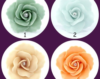 Handcrafted Miniature Roses Polymer Clay Flowers Supplies 10 pcs
