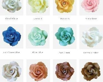 48 Handcrafted Clay Rose flowers, assorted 48 pieces