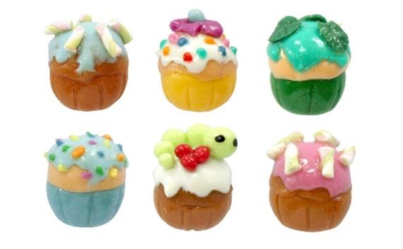 Miniature Foods Polymer Clay Beads Jewelry 6 pcs