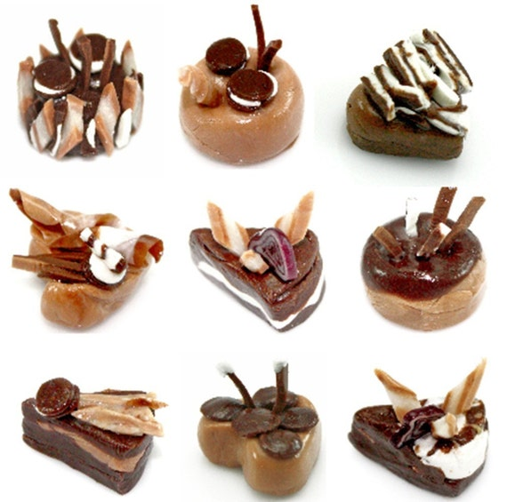 Miniature Foods Chocolate Cake Polymer Clay Supplies 9 pcs