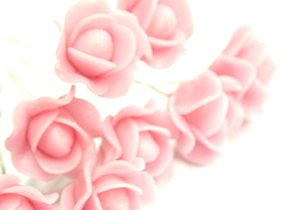 Handcrafted Pink Roses Clay, set of 10 pcs