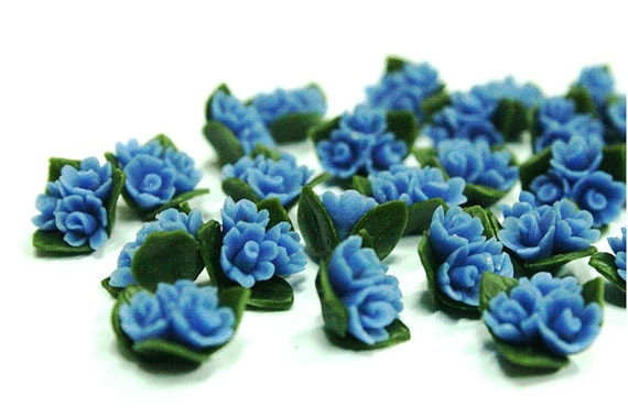 Blue Wild Flowers Miniature Polymer Clay Crafts for Beads Jewelry,10 pcs
