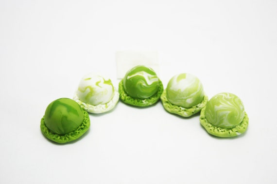 Miniature Polymer Clay Food, Green Apple Ice Cream Scoop for Beaded Jewelry, set of 5 pieces