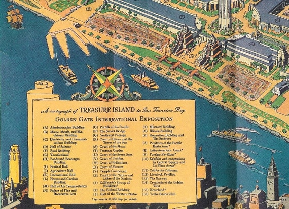 1939 Golden Gate International Expo Official Guide Book with Fold-out Map of Treasure Island