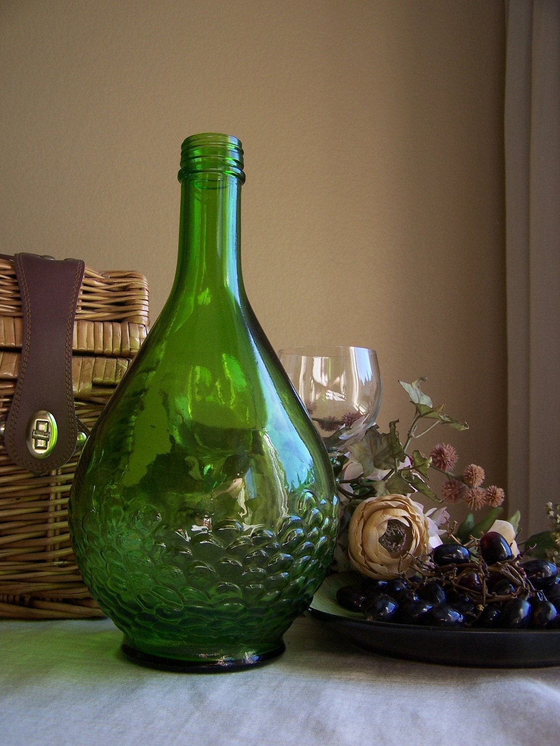 Vintage Gallo Wine Bottle With Embossed Grapes