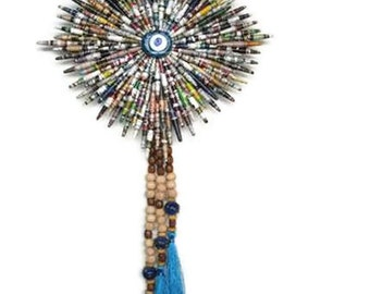 Paper Bead  Wall Hanging, Evil Eye Wall Hanging, Recicled Wall Hanging