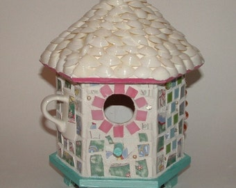 Mosaic Birdhouse with Seashell Roof