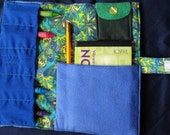 Blue and Green Butterfly Quilted Craft\/Coloring Wallet (one of a kind)