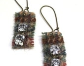 Lovely recycled wool with a bling earrings FREE SHIPPING