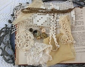 Creamy Froth - DIY kit Textile Cuff. Vintage Reclaimed Fabrics and beads