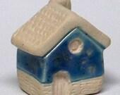 little cottage home - ceramic house with blue colored glaze, lil village no25
