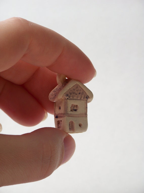 little cottage home - ceramic house with pink colored glaze, lil village no21