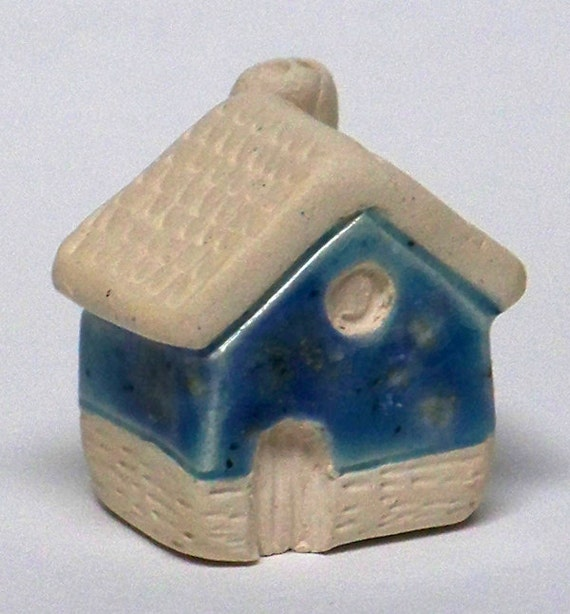little cottage home - ceramic house with blue colored glaze, lil village no25