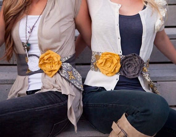 Mustard and Gray Adorable Vintage inspired belts - the Steel