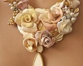 Lavender Peach and Cream Enamel Statement Necklace