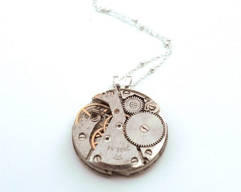 Steampunk Jewelry - Antique Watch Necklace