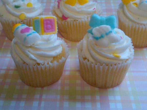 Edible Sugar BABY Pieces- Cupcake Toppers- For Baby Showers