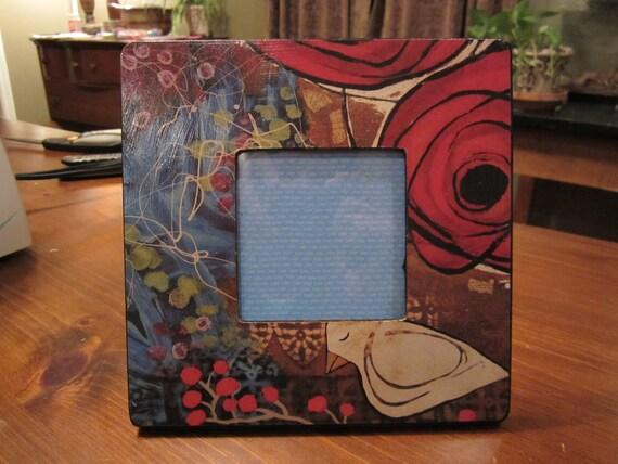 Wooden Picture Frame - Mixed Media -Bird - Flower  8 x 8