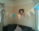 Handmade Bunting from vintage fabric, hemmed neatly in blues, cream, stripes and yellows - 3m
