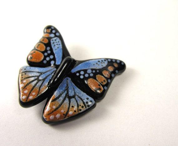 MZ Glass Glass Butterfly Pendant- Blue & Cedar Brown