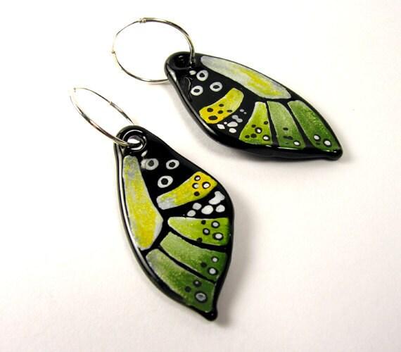 MZ Glass Glass Butterfly Earrings-Green/ Yellow