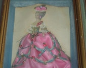 Antique Vintage Victorian MARIE ANTOINETTE Shadowbox Pink Dress Gown Aqua Paper Doll RIBBON Rose Flowers Jewelry