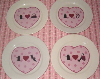 PARIS PINK Black Diva Heart PLATES Shoe Purse Perfume Bottle Diamond Ring Polka Dot Valentines Day Holiday Display Wall Decor Girly Girl Set