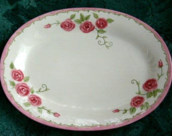 PINK ROSE PLATE Shabby Cottage Chic Ceramic Serving Oval Platter Large Rosebud Green Vine Border Turkey Dessert Wall Decor Display Scroll Hp