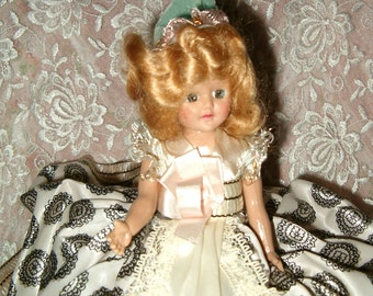 DUCHESS DOLL MIB Vintage 1940s of all Nations Box Sleep Eye Swedish Sweden Switzerland Girl White Black Dress Hat Hard Plastic 40s Blink Eye