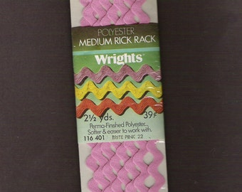 Vintage WRIGHTS RICK RACK Trim Hot Baby Pink package Sewing 2 1/2 yards Ric Rac Notion Doll Clothing Craft Embellishment Sealed Nos Unopened