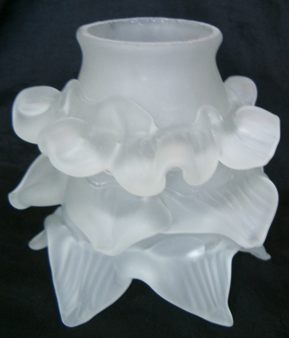 Frosted Floral Glass Flower Rose Petal Bridge Lamp Shade
