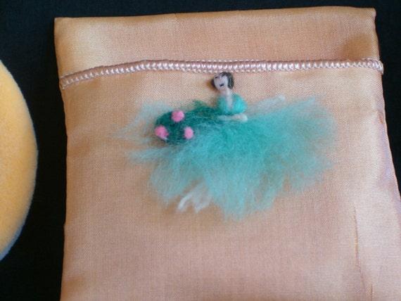 Antique Vintage BOUDOIR Flapper LADY DOLL Face Powder Puff Aqua Dress with Peach Satin Silk Holder Keeper Case Bag in Box