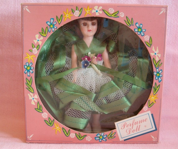 Vintage 1950s A&H Plastic PERFUME DOLL Original Box 7 inch Brunette Brown Hair Emerald Green Dress Forget Me Not Flowers Floral Bouquet Nos