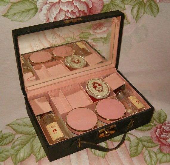 Antique Vintage Art Deco Richard Hudnut Du Barry Travel Cosmetic Powder Skin Freshener Lotion Cream Kit Case