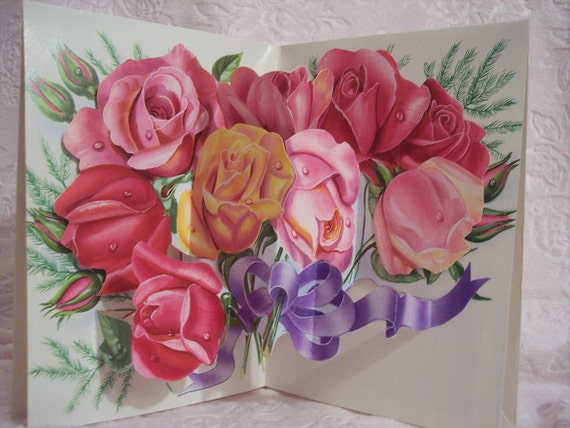Vintage French Pink Rose Bouquet Valentine Card Unused Mint with Envelope Fold Out Stand Up Moveable Mechanical France