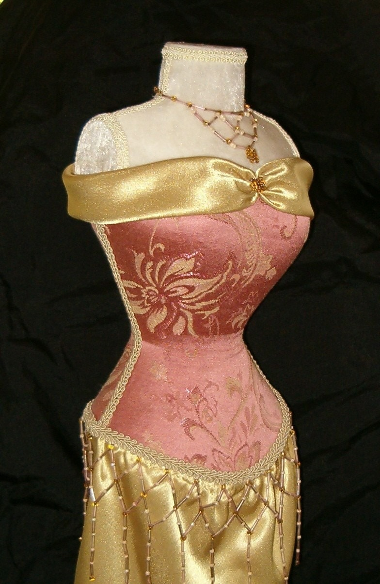 Dress Form Victorian Mannequin Stand Pink Rose Damask Gold