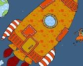 Space Art Print for Children--Moon Rocket, Orange