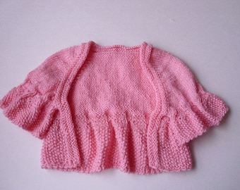 Baby sweater  shrug  bolero Size 6-9  months  Hand knit  Ready to ship