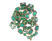 Vintage Chanel Rare Chiklet green Emerald Crystals necklace Sautoir 1981