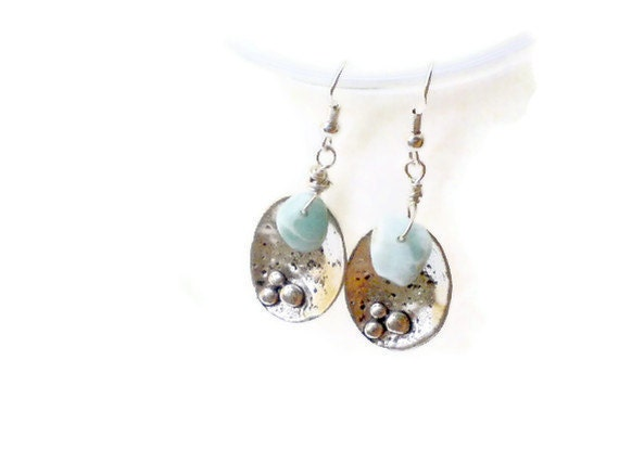 Larimar dangle earrings Oxidized silver tone simple style