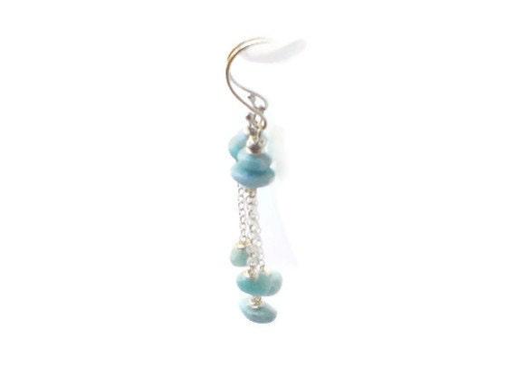 Blue Larimar dangle earrings minimalist style gifts under 50