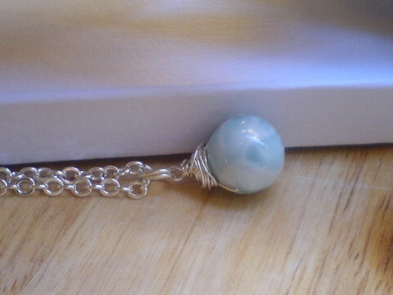 Larimar Necklace Sterling Silver chain