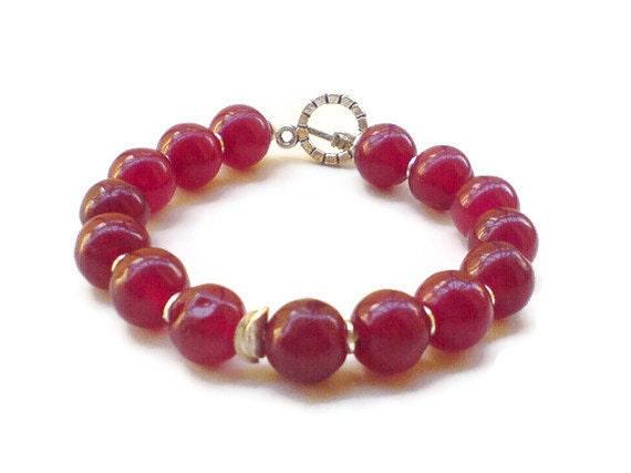 Red jade Bracelet Fall fashion jewelry red cherries