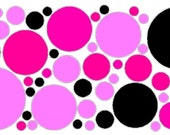 52 Peel and Stick Black and Pink Polka Dots Stickers Decals Removable/Repositionable Wall Art